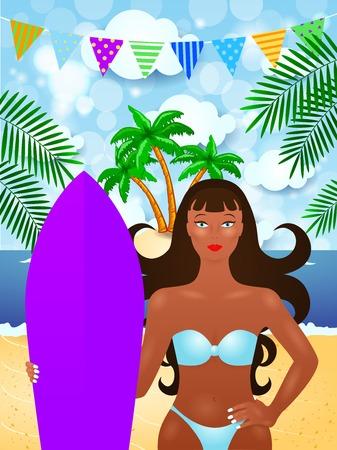 Summer illustration with attractive girl and surf, Ilustração