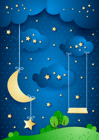 Surreal night with hanging moon and seesaw. Vector illustration eps10
