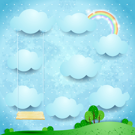 Surreal landscape by day with seesaw. Vector illustration eps10