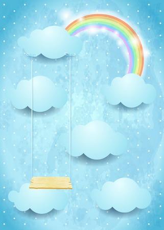 Surrealistische hemel met wolken regenboog en schommel.