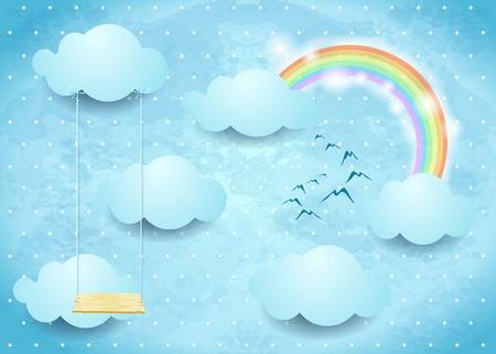 Surrealistische hemel met wolken, regenboog en schommel.