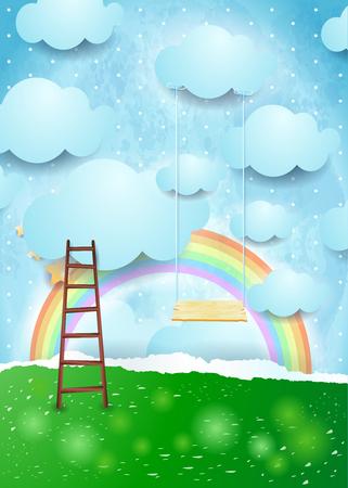 Surreal paper landscape with ladder and swing. Vector illustration eps10 Illustration