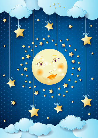 Surreal night with full moon and hanging stars. Vector illustration eps10