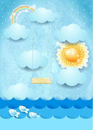 Surreal zeegezicht met zon en schommel, vectorillustratie eps10