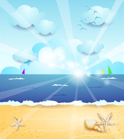 Summer landscape with sunrise, vector illustration eps10