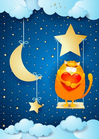 Surrealistische nacht met kitten en schommel. Vector illustratie eps10