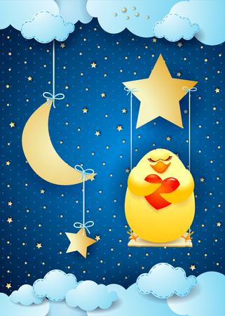 Surrealistische nacht met kuiken en schommel, vectorillustratie eps10 Stock Illustratie
