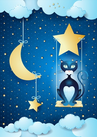 Surreal night with black cat and swing, vector illustration eps10 Illustration