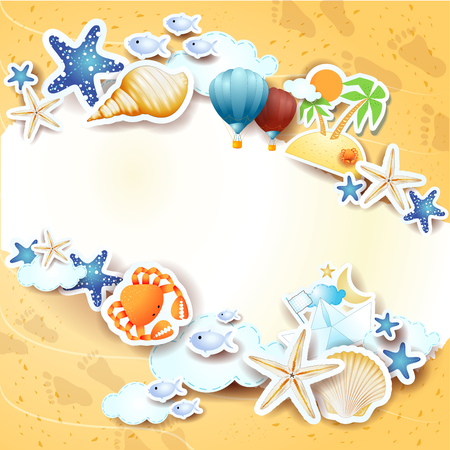 Summer background with icons and copy space. Vector illustration eps10