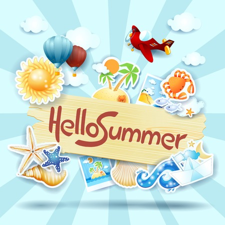 Summer background with sign and icons, vector illustration eps10