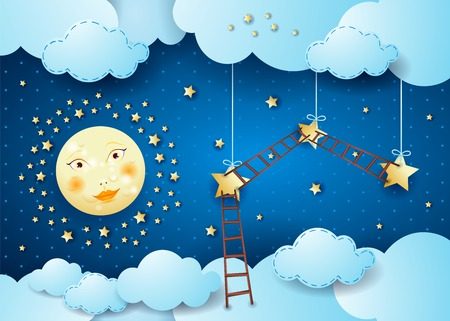 Surreal night with full moon, hanging stars and ladders. Vector illustration eps10