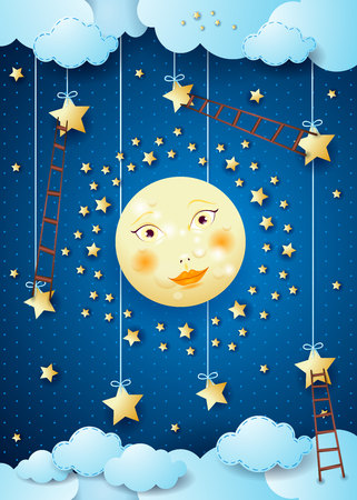 Surreal night with full moon, hanging stars and ladders. Vector illustration eps10 Stock fotó - 80267190
