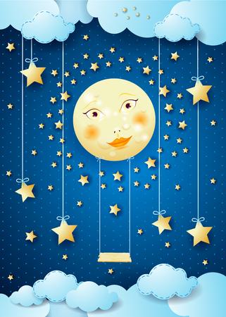 Surrealistische nacht met volle maan, hangende sterren en schommel