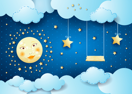 Surreal night with full moon, hanging stars and swing Stock Vector - 80723560