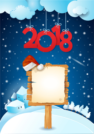 New Year background with wooden sign and hanging text. Vector illustration eps10