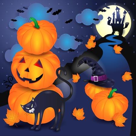 Halloween-Hintergrund mit Kürbisen, schwarzer Katze und Hut. Vektorabbildung eps10 Standard-Bild - 86203428