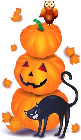 黒い猫とフクロウのハロウィンかぼちゃ。ベクトル図 eps10