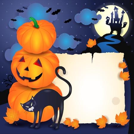Halloween-Hintergrund mit Pergament, Katze und Kürbissen. Vektorabbildung eps10 Standard-Bild - 86203430