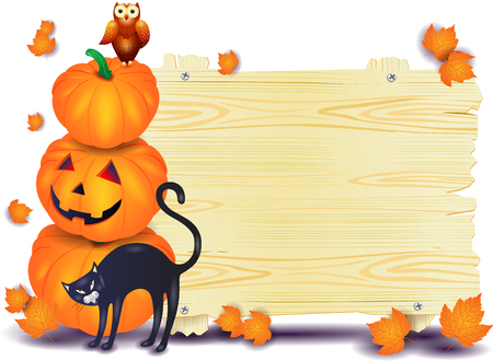Halloween signboard with pumpkins, cat and owl. Vector illustration eps10