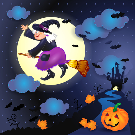 Halloween night with old witch, castle and pumpkin. Vector illustration eps10 Illustration