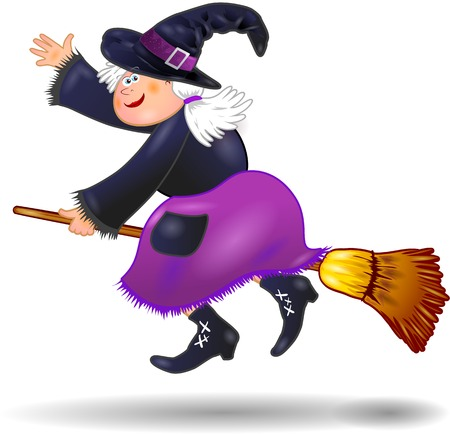 Halloween witch isolated on white, vector illustration eps10