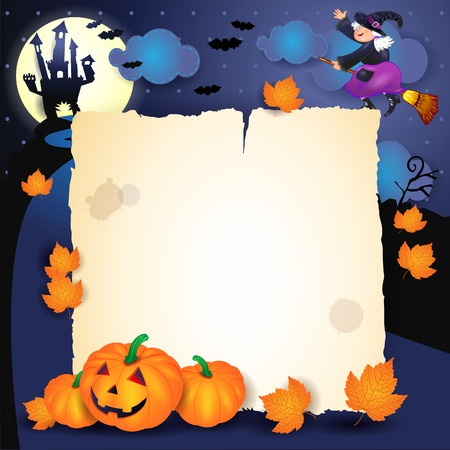 Halloween night with parchment, pumpkins and old witch. Vector illustration eps10