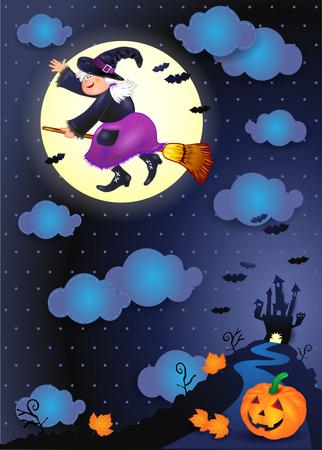 Halloween-Nacht mit alter Hexe und Kürbis. Illustration Standard-Bild - 86910812