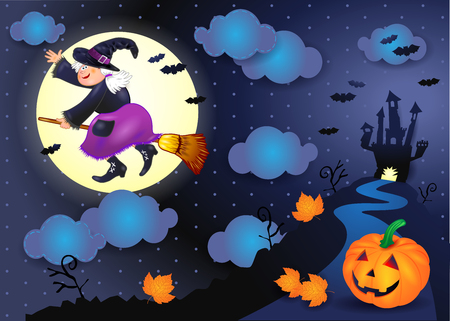 Halloween night with old witch, and pumpkin. illustration