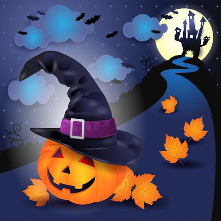Halloween-Nacht mit großem Kürbis und Hexenhut. Vektorabbildung eps10 Standard-Bild - 86921522
