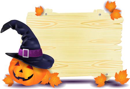 Insegna di Halloween con grande zucca e cappello da strega. Illustrazione vettoriale eps10 Archivio Fotografico - 86921523