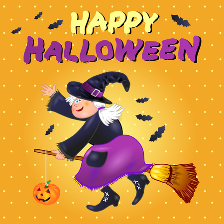 Halloween card with funny old witch. Vector illustration eps10