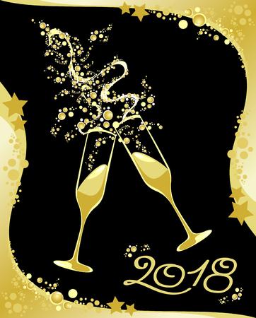 Celebrazione del nuovo anno, 2018. Illustrazione vettoriale eps10 Archivio Fotografico - 87346382