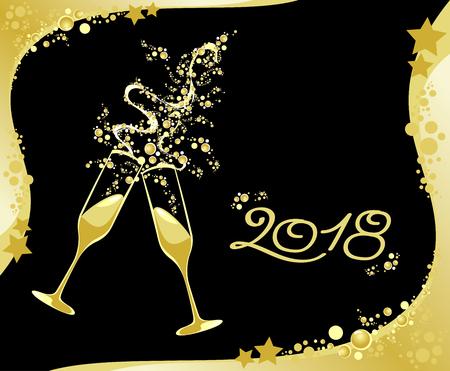 Celebrating the New Year, 2018. Vector illustration eps10