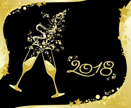 Viering van het nieuwe jaar, 2018. Vector illustratie eps10