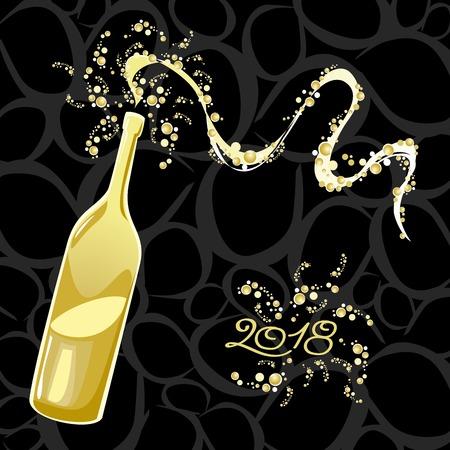 Celebrating the New Year, bubbly bottle 2018. Vector illustration eps10 Çizim