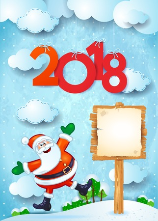 New Year background with happy Santa, sign and text. Vector illustration eps10 Illustration