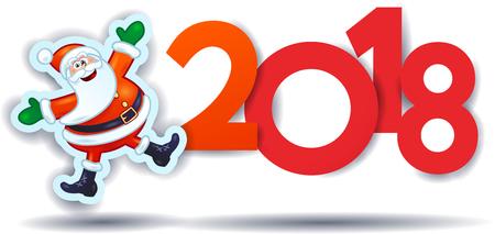 Babbo Natale divertente e testo, illustrazione di Capodanno. Vettore eps10 Archivio Fotografico - 87466687