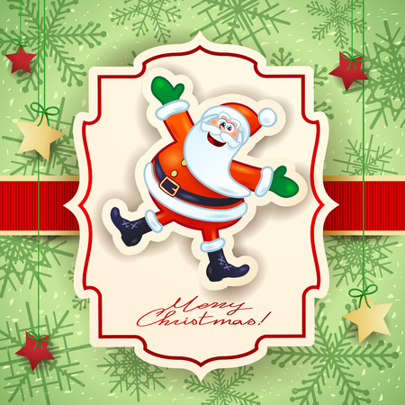 Christmas card with funny Santa and text. Vector illustration eps10 Illustration