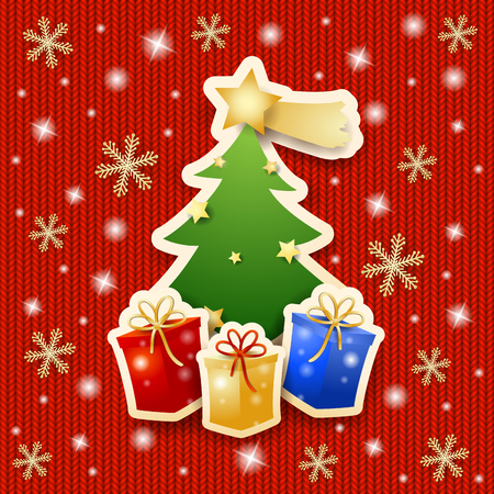 Christmas tree with gifts on knitted background.