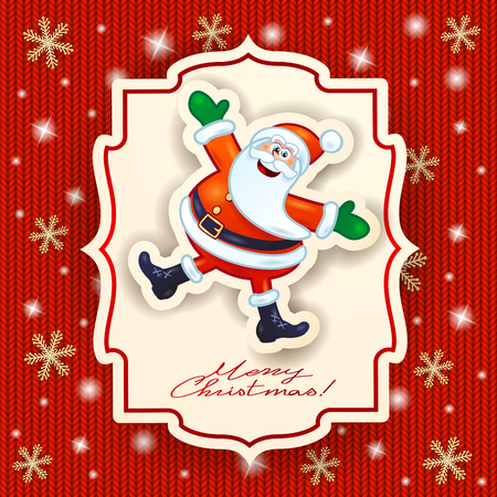 Happy Santa Claus and text on knitted background.