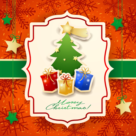 Christmas card with tree, gifts and text. Vector illustration eps10 Illustration