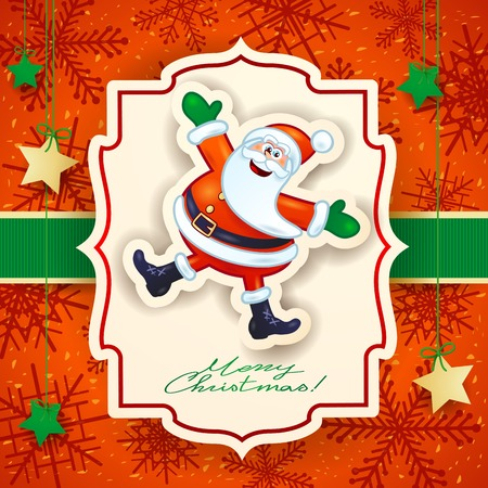 Christmas card with funny Santa and text, vector illustration eps10 Illustration