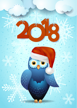 New Year background with cute owl and text. Vector illustration eps10