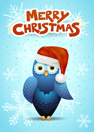 Christmas card with cute owl and Santas hat. Vector illustration eps10