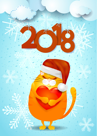 New Year background with cat, Santa hat and text.