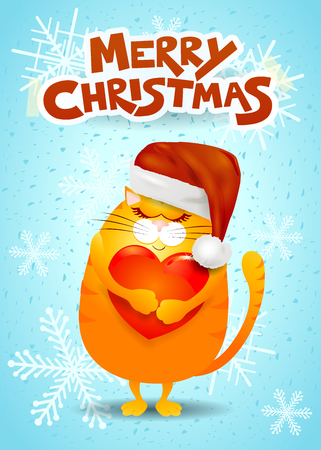 Christmas card with cat Vector illustration Illustration