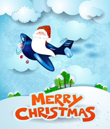 Santa Claus on the airplane by day with text, vector illustration