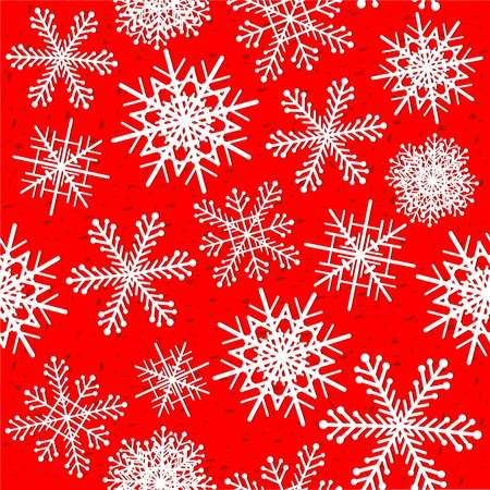 赤い背景ベクトルイラストでシームレスなパターンをスノーフレーク。