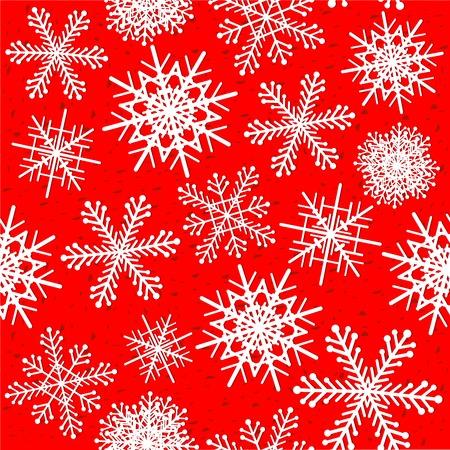 빨간색 배경 벡터 일러스트에서 눈송이 원활한 패턴.
