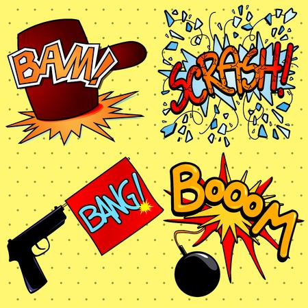 Onomatopoeia set, illustration in cartoon style. Vector eps10 Illustration